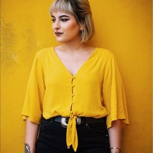 Bershka Yellow Blouse